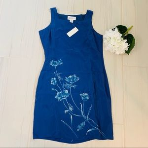 New Casual Corner 100% Silk Blue Floral  Dress 10